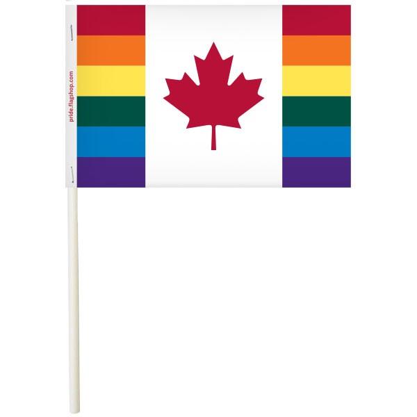 """Canada Pride Paper Stick Flags, 4"""" x 6"""""""