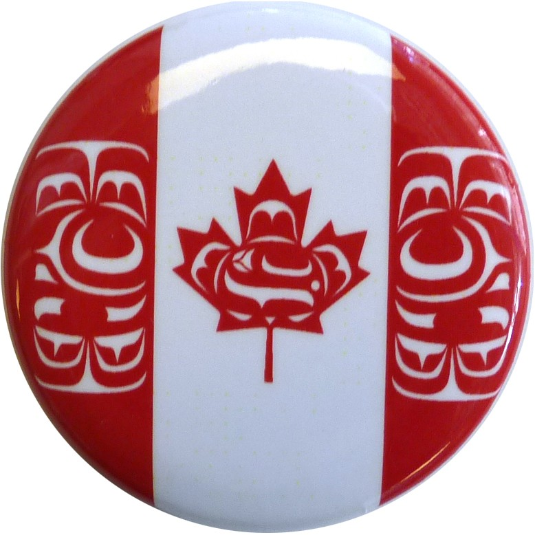 "Canadian Native Flag Button 1.5"" diameter (round button)"