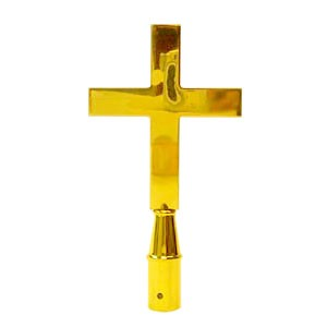 "Church cross brass plated 8"" finial"