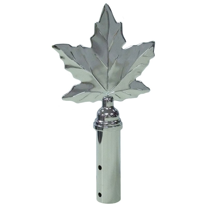 Maple Leaf Finial, Chrome Plated