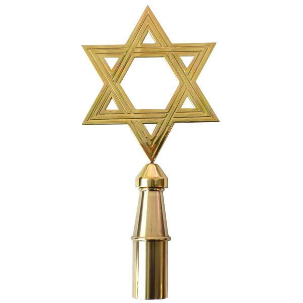 Star of David Finial, Brass Plated