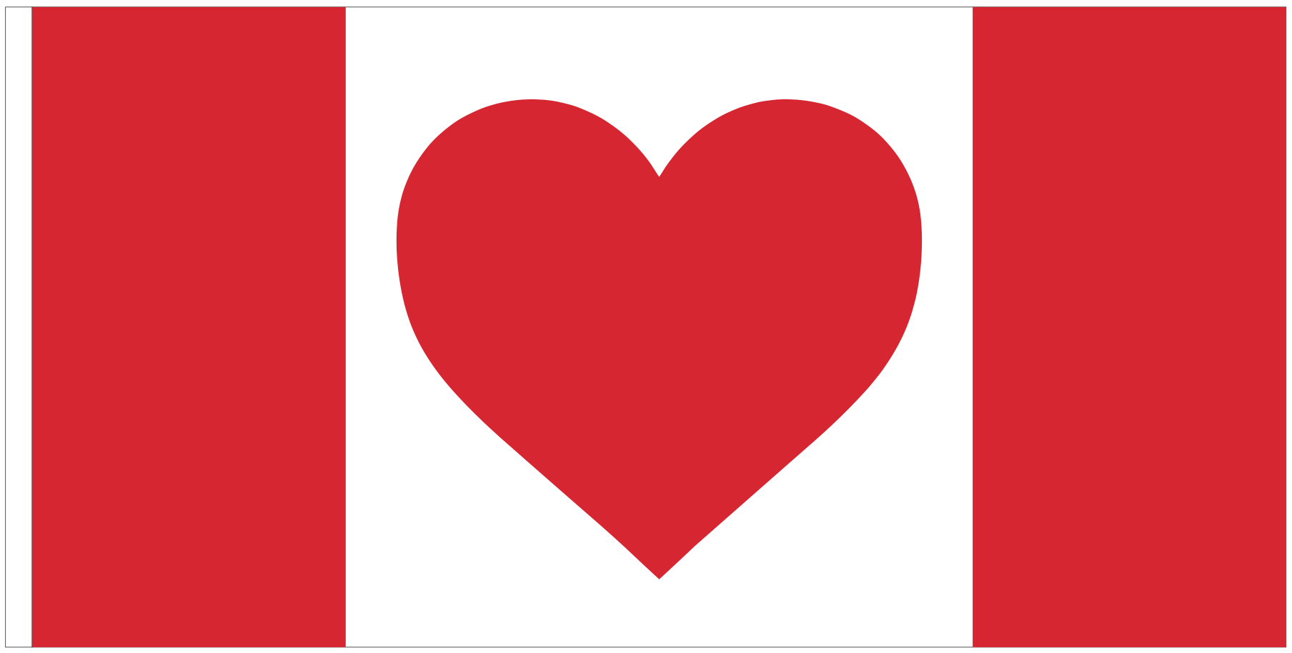 Heart Canada Flag - 18x36 Sewn Nylon with Grommets