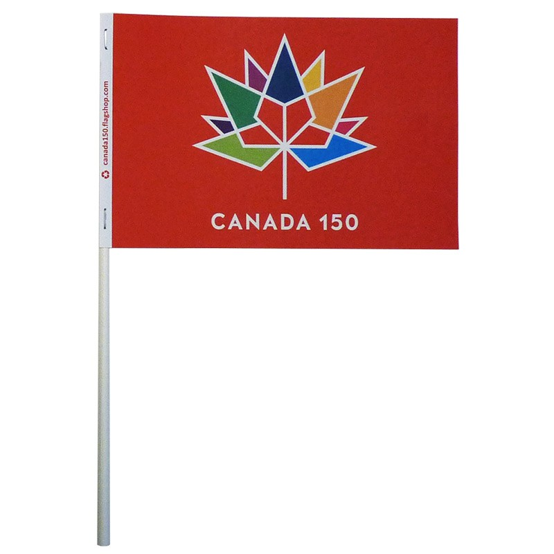 Canada 150 Paper Stick Flag, Red