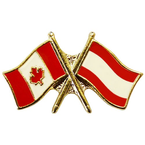 Canada Austria Crossed Pin Crossed Flag Pin Friendship Pin