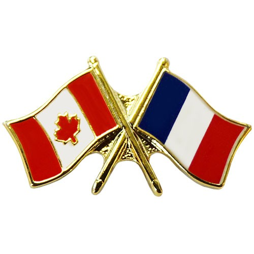 Canada France Crossed Pin Crossed Flag Pin Friendship Pin