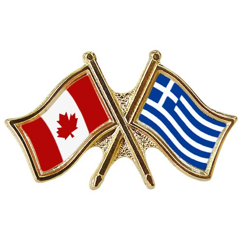 Canada/Greece Crossed Pin