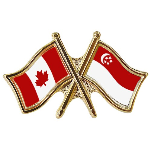 Canada Singapore Crossed Pin Crossed Flag Pin