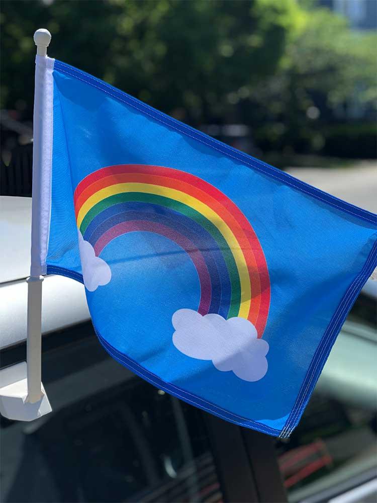 Hope Rainbow Car Flag