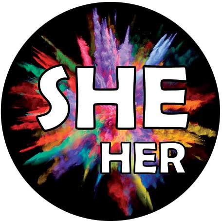 She / Her Pronoun Buttons
