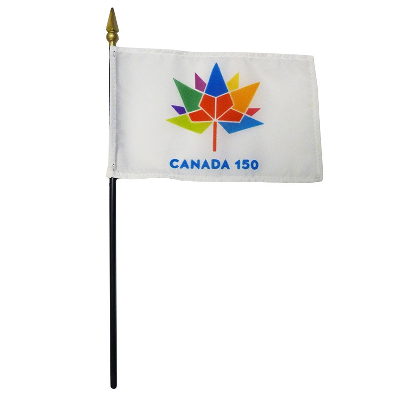 "Canada 150 Stick Flags, 4""x6"""