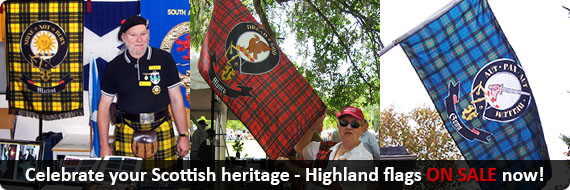 highland, tartan flags, clan flags and banners